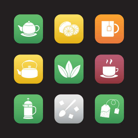 Tea flat design icons set. Teapot, lemons, mug with teabag, kettle, loose tea leaves, steamy cup on plate, french press, spoon with sugar cubes. Web application interface. Vector