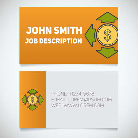 easy money: Business card print template with money spending logo. Easy edit. Manager. Accountant. Investor. Stationery design concept. Vector illustration