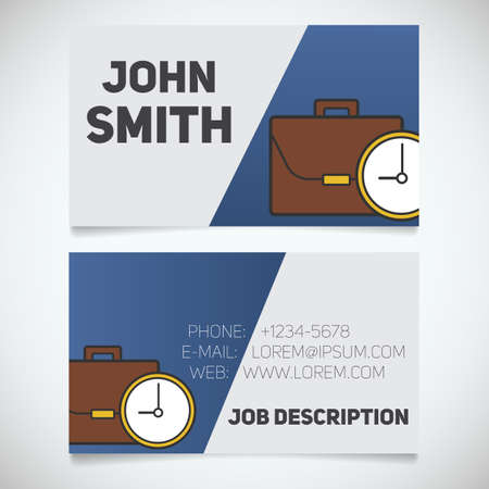 workday: Business card print template with briefcase and clock logo. Easy edit. Manager. Businessman. Stationery design concept. Vector illustration