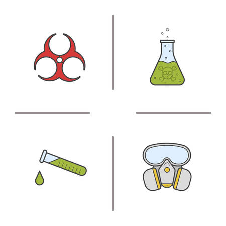 poison symbol: Chemical industry color icons set. Gas mask, poison liquid, chemical test tube and biohazard danger symbol. Isolated vector illustrations