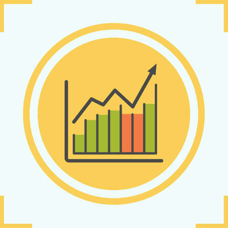 Income growth chart color icon. Diagram. Business graph. Stock market. Isolated vector illustration