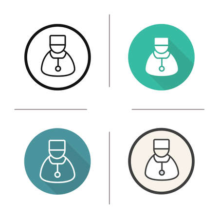 Doctor icon. Flat design, linear and color styles. Therapist. Practitioner. Physician. Isolated vector illustrations Illustration