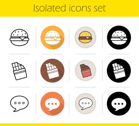 bitten: Food icons set. Flat design, linear, black and color styles. Burger, bitten chocolate bar and chat bubble. Fast food. Isolated vector illustrations
