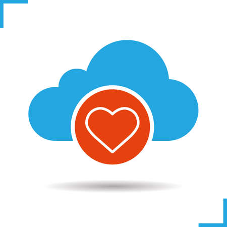Cloud computing heart icon. Drop shadow silhouette symbol. Web hosting. Negative space. Vector isolated illustration