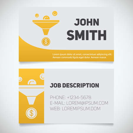 Business card print template with sales funnel logo. Easy edit. Marketer. Seo manager. Stationery design concept. Vector illustration