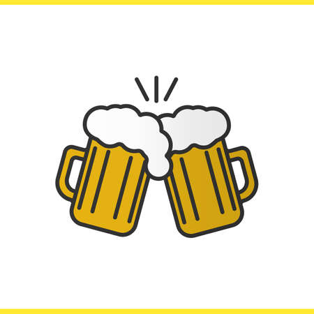 vasos de cerveza: Toasting beer glasses color icon. Cheers. Two foamy beer glasses. Isolated vector illustration Vectores