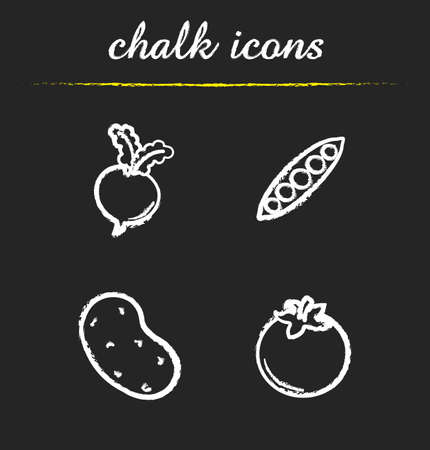 pea pod: Vegetables chalk icons set. Beet root, open pea pod, potato and tomato illustrations. Isolated vector chalkboard drawings Illustration