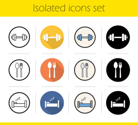 eatery: Healthy lifestyle icons set. Flat design, linear, black and color styles. Dumbbell, fork and spoon, bed. Sport and fitness, eatery and sleep symbols. Isolated vector illustrations Illustration