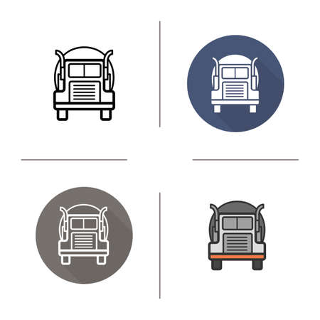 tanker: Oil tanker truck icon. Flat design, linear and color styles. Isolated vector illustrations