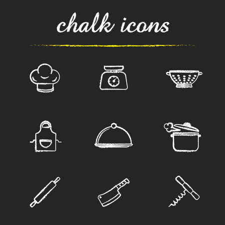 stew pot: Kitchenware chalk icons set. Chefs hat, kitchen food scales, colander, apron, covered dish, steaming stew pot, rolling pin, cleaver, corkscrew illustrations. Isolated vector chalkboard drawings