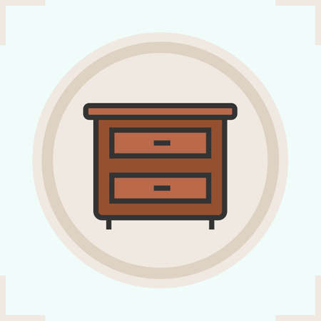 drawers: Nightstand color icon. Bedside table with drawers. Isolated vector illustration