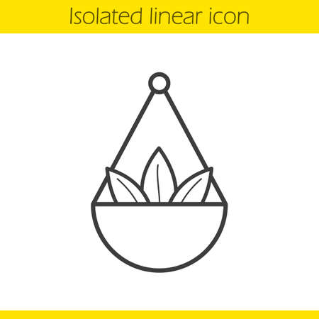 Apothecary herbs in scalepan linear icon. Thin line illustration. Contour symbol. Vector isolated outline drawing Illustration