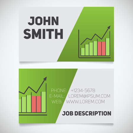 stockbroker: Business card print template with income growth chart logo. Easy edit. Marketer. Stockbroker. Stationery design concept. Vector illustration Illustration