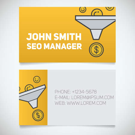sales manager: Business card print template with sales funnel logo. Easy edit. Marketer. Seo manager. Stationery design concept. Vector illustration