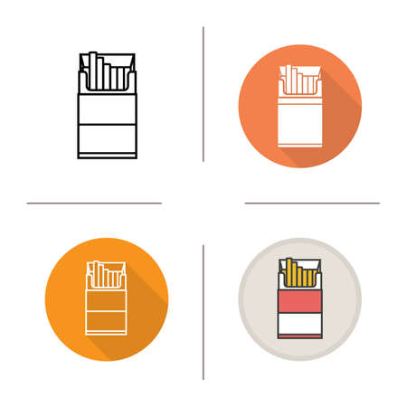 Open cigarette pack icon. Flat design, linear and color styles. Isolated vector illustrations