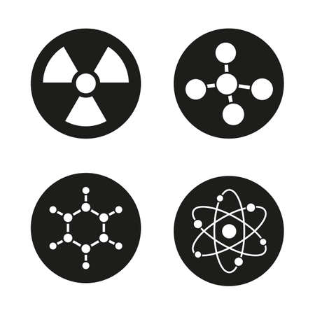 caution chemistry: Chemistry and physics icons set. Atom, molecule and radioactive caution symbols. Radiation sign. Science pictograms. Vector white illustrations in black circles