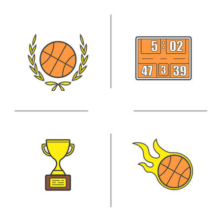 Basketball championship color icons set. Basketball ball in laurel wreath, scoreboard, flying burning ball, winners gold award. Isolated vector illustrations