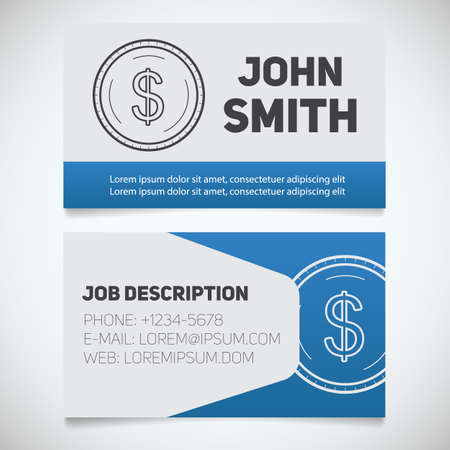 economist: Business card print template with dollar coin logo. Easy edit. Accountant. Bank worker. Economist. Businessman. Stationary design concept. Vector illustration