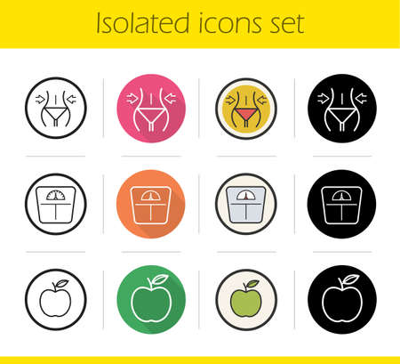 dieting: Dieting icons set. Flat design, linear, black and color styles. Weight loss, apple nutrition symbol, floor scales. Fitness. Healthy lifestyle. Diet. Sport. Isolated vector illustrations
