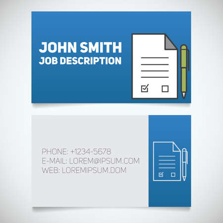negotiator: Business card print template with signed contract and pen logo. Easy edit. Lawyer. Negotiator. Advocate. Stationery design concept. Vector illustration