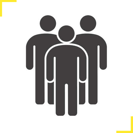 societies: People icon. Drop shadow society silhouette symbol. Crowd. Group of people. Negative space. Vector isolated illustration Illustration