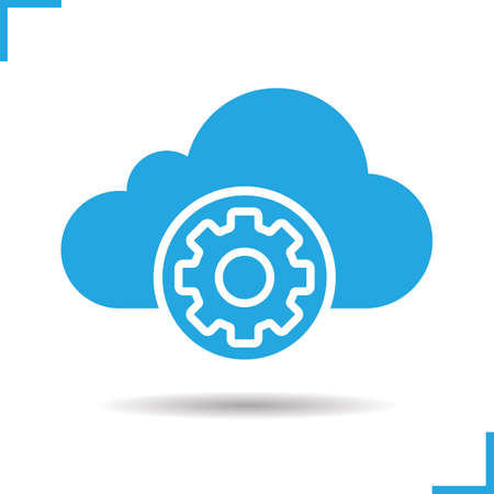 preferences: Cloud storage settings icon. Drop shadow blue silhouette symbol. Cogwheel. Web storage preferences. Cloud computing. Vector isolated illustration