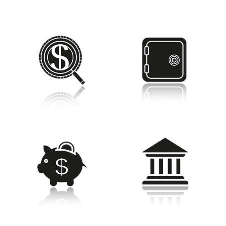 courthouse: Banking and finance drop shadow black icons set. Bank building, safe deposit box, money search, courthouse, piggybank with coin. Isolated vector illustrations