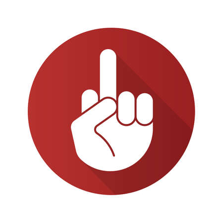 Middle finger up flat design long shadow icon. Flipping off hand gesture. Vector silhouette symbol