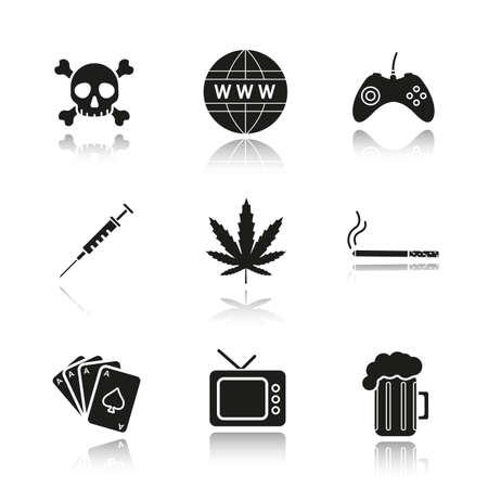 bad habits: Addictions and bad habits drop shadow black icons set. Skull and crossbones, www globe symbol, gamepad, syringe, marijuana leaf, cigarette, cards deck, tv, beer mug. Isolated vector illustrations