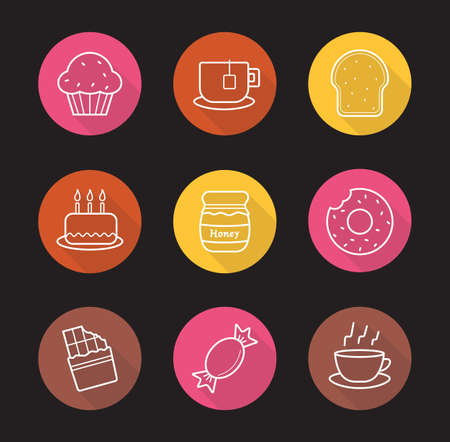 Confectionery flat linear long shadow icons set. Pastry. Sweet food. Muffin with raisins, steaming teacup, toast, birthday cake, honey pot, donut, chocolate bar, caramel candy. Vector line symbols