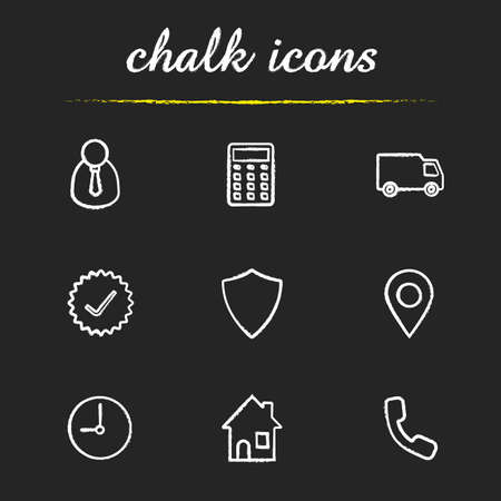 approved sign: Delivery service chalk icons set. Manager, calculator, delivery truck, approved sign, shield, gps pinpoint, clock, house, contact us symbol illustrations. Isolated vector chalkboard drawing
