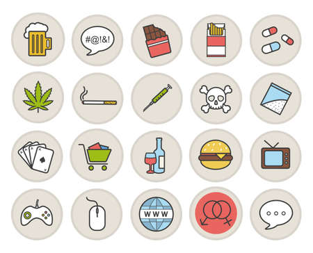Addictions and bad habits color icons set. Smoking, alcoholism, gaming, gambling, obesity, swearing, drug abuse and other symbols. Unhealthy lifestyle. Isolated vector illustrations