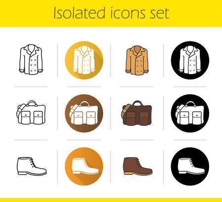 leather bag: Autumn accessories icons set. Flat design, linear, black and color styles. Jacket, leather bag and boot. Mens clothing. Isolated vector illustrations Illustration