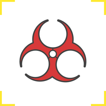 Biohazard red icon. Bio hazard sign. Isolated vector illustration Illustration