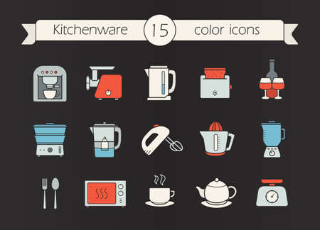 Kitchen appliances color icons set. Coffee machine, mincer, kettle, toaster, steam cooker, mixer, water filter, juicer, blender, teapot, scales, microwave oven. Isolated vector illustrations Illustration