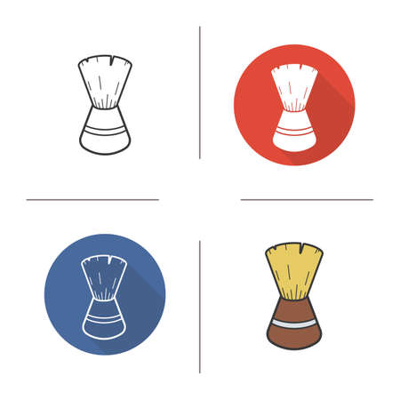 Shaving brush icon. Flat design, linear and color styles. Isolated vector illustrations