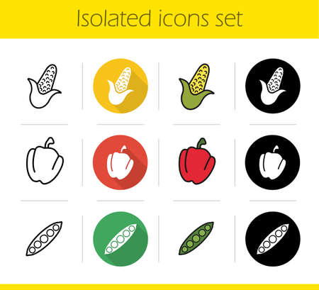 pea pod: Vegetables icons set. Flat design, linear, black and color styles. Corn, paprika, open pea pod. Bell pepper and maize. Isolated vector illustrations Illustration