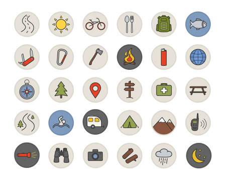 temperino: Camping color icons set. Tourists equipment. Tent, compass, binoculars, penknife, campfire, backpack, photo camera, lighter, axe, carabiner, trailer, first aid kit. Isolated vector illustrations Vettoriali
