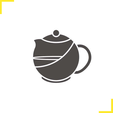 Brewing teapot icon. Drop shadow silhouette symbol. Negative space. Vector isolated illustration