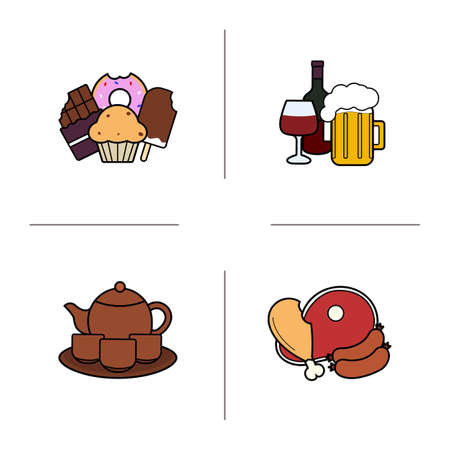 Food categories color icons set. Confectionery, alcohol drinks, tea set, meat products. Isolated vector illustrations Illustration