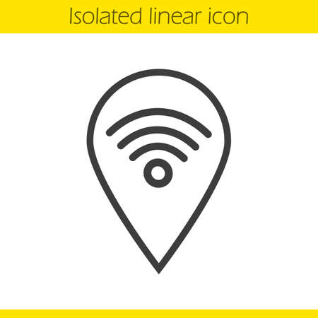 hotspot: Wifi hotspot linear icon. Thin line illustration. Contour symbol. Pinpoint with wi fi network signal inside. Vector isolated outline drawing Illustration