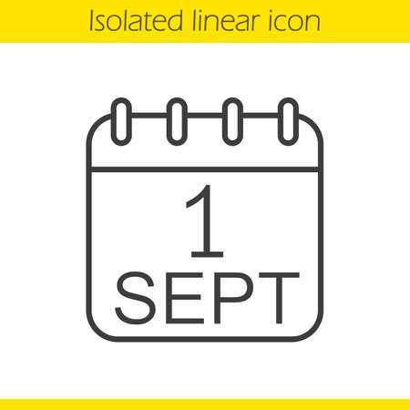 Calendario Dibujo Septiembre.1 De Septiembre Icono Lineal Ilustracion De Linea Delgada
