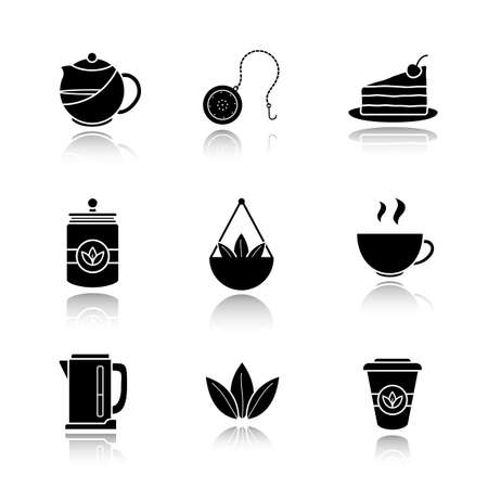 Tea drop shadow black icons set. Teapot and ball infuser, chocolate cake on plate, tea container, loose leaves in bulk, steaming cup, electric kettle, takeaway paper cup. Isolated vector illustrations Illustration