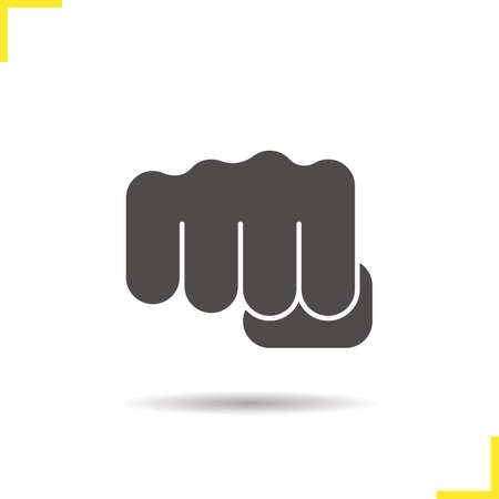 Punch icon. Drop shadow squeezed fist silhouette symbol. Negative space. Vector isolated illustration