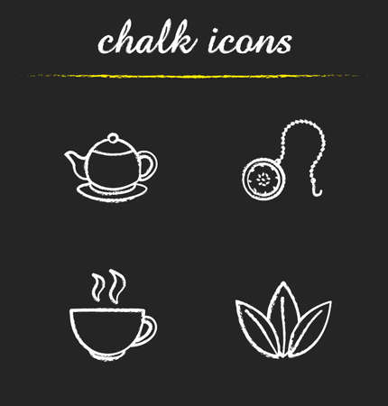Tea chalk icons set. Teapot, ball infuser, steaming cup, loose tea leaves illustrations. Isolated vector chalkboard drawings Illustration