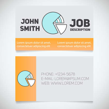 Business card print template with diagram logo. Easy edit. Marketer. Analyst. Stationery design concept. Vector illustration