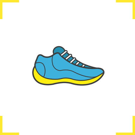 Running shoe color icon. Basketball sneaker in blue and yellow. Isolated vector illustration