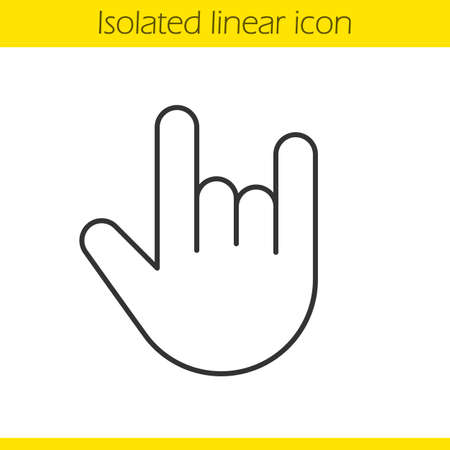 heavy metal: Heavy metal gesture linear icon. Thin line illustration. Devil horn and cool contour symbol. Vector isolated outline drawing