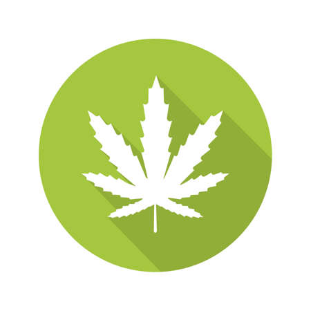 Marijuana leaf flat design long shadow icon. Cannabis weed. Vector silhouette symbol