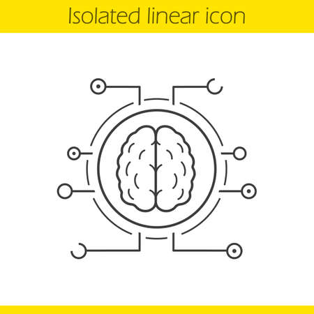 Neural networks linear icon. Thin line illustration. Human brain contour symbol. Artificial intelligence. Vector isolated outline drawing